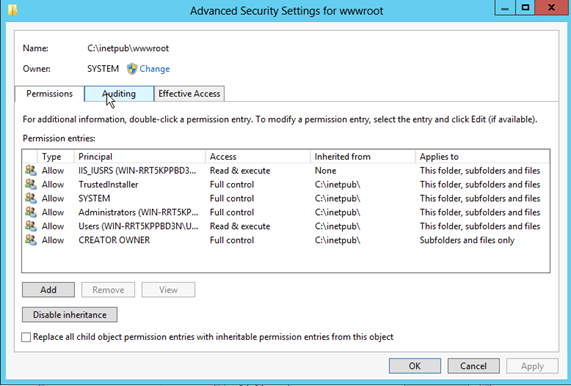 Screen shot showing the NTFS permissions settings for Microsoft Windows operating systems.