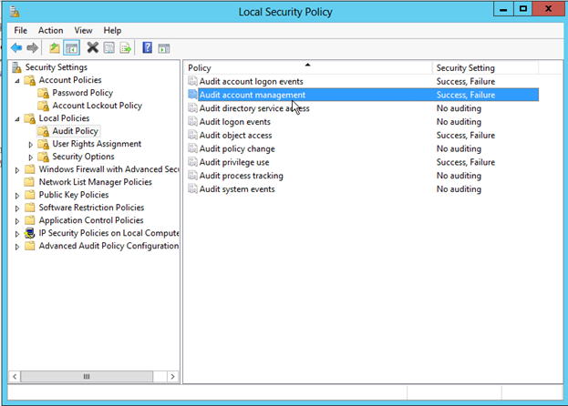Screen shot showing the settings for Auditing in Microsoft Windows operating systems.