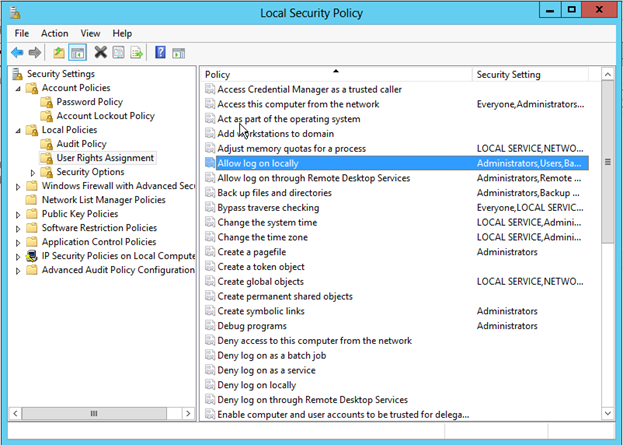 Screen shot showing various user policy setting in Microsoft Windows operating systems.