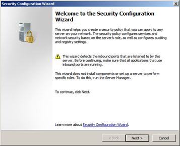 Screen shot of the Microsoft Security Configuration Wizard