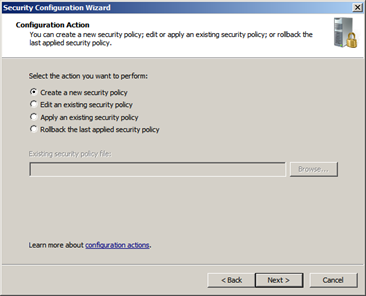 Another screen shot of the Microsoft Security Configuration wizard
