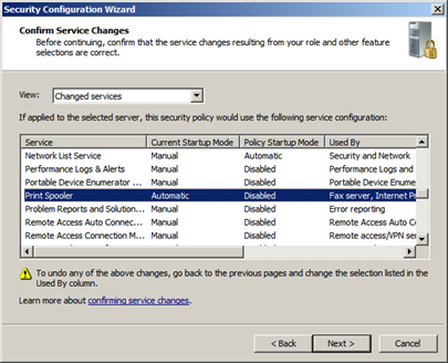 Another Microsoft SCW security configuration wizard interface.