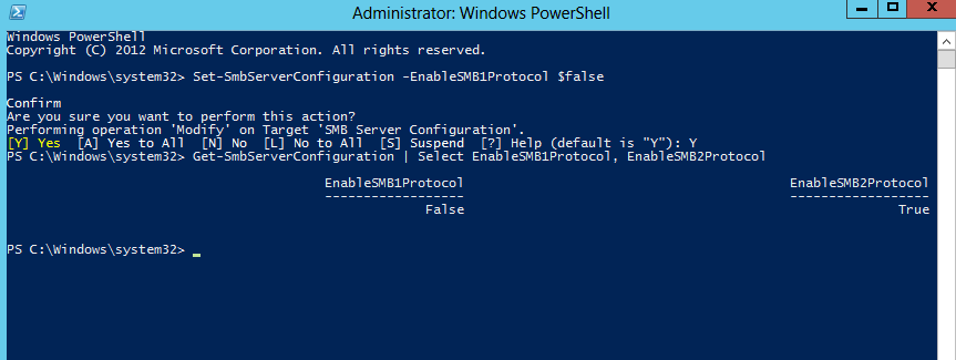 Screen shot fo SMB2 protocol setting in Microsoft windows operating systems enforcing SMB2