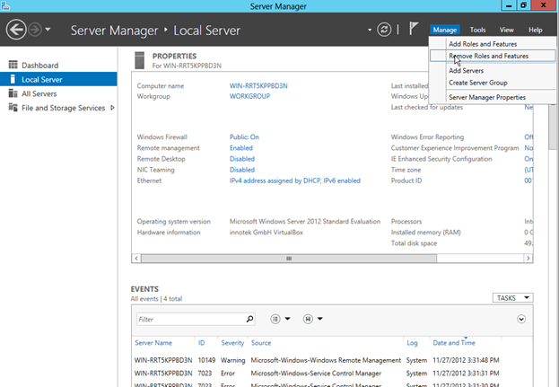 Screen shot of Windows server manager interface