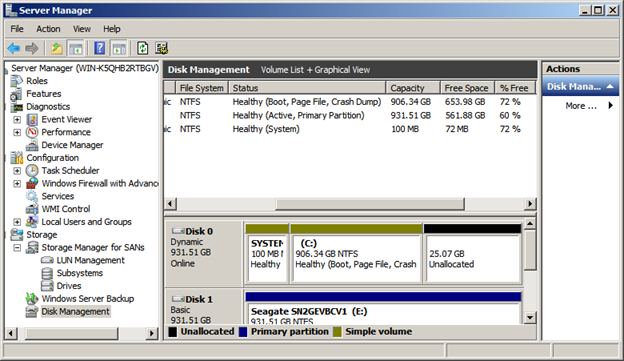 Screen shot of the disk management interface for Windows operating systems.