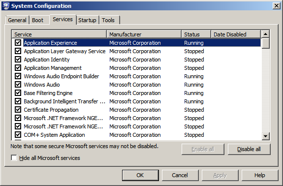 Screen shot of msconfig interface in Microsoft Windows operating systems