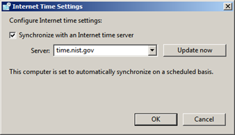 Windows interface for setting a time sync source.